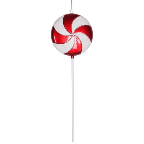 Red and White 24-inch Plastic Candy Lollipop Ornament