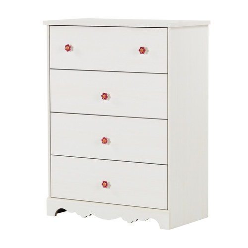 South Shore Lily Rose White Wash Laminate 4-drawer Chest