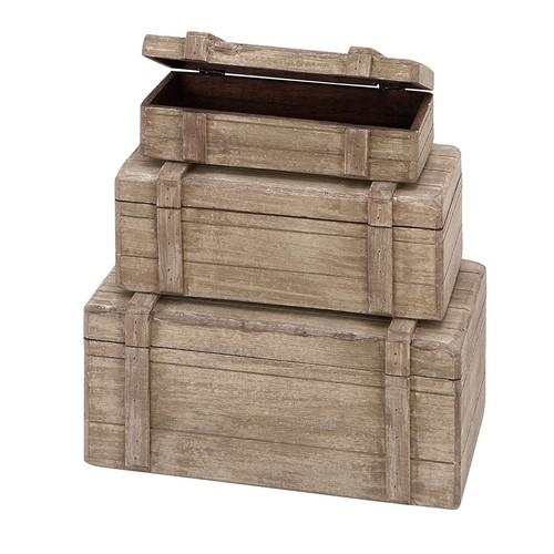 Wood Boxes Nautical Maritime Decor (Set of 3)