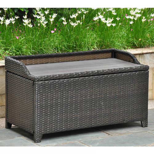 International Caravan Barcelona Resin Wicker/Aluminum Outdoor Storage Bench [option : Tan]