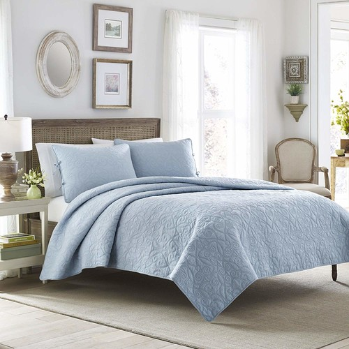 Laura Ashley Felicity Quilt Set, Breeze Blue, King [Breeze Blue, King]