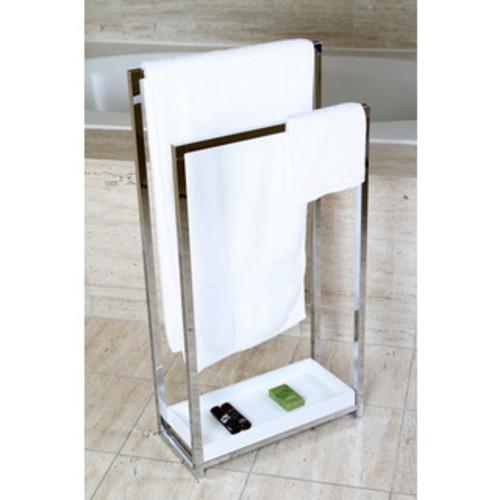 Satin Nickel Pedestal 2-tier Iron Construction Towel Rack