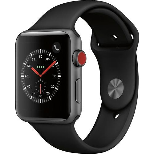 Apple - Apple Watch Series 3 (GPS + Cellular), 42mm Space Gray Aluminum Case with Black Sport Band - Space Gray Aluminum (AT&T)