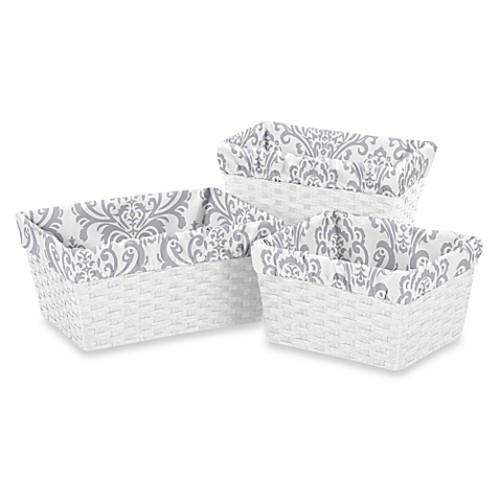 Sweet Jojo Designs Elizabeth Basket Liners in Grey (Set of 3)