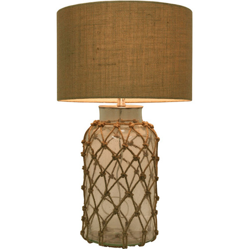 Seeded Glass Table Lamp with Rope Net