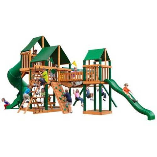 Gorilla Playsets Treasure Trove with Timber Shield and Sunbrella Canvas Forest Green Canopy Cedar Playset