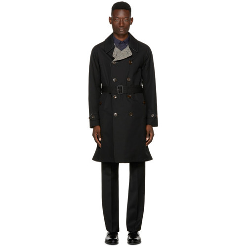 BURBERRY Reversible Black Tweed Delaney Trench Coat