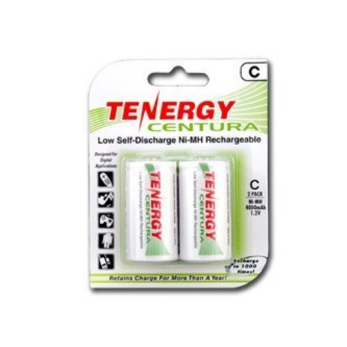 1 Card: 2 pcs Tenergy Centura C Size 4000mAh Low Self Discharge NiMH Rechargeable Batteries