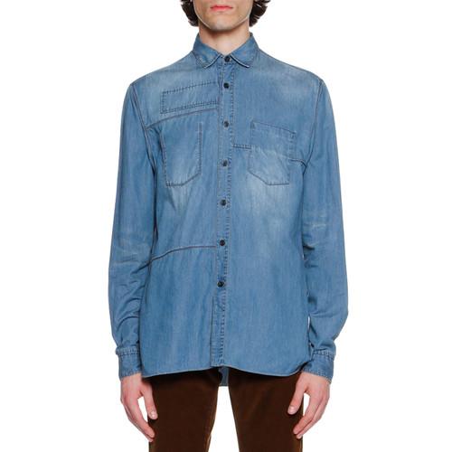 LANVIN Faded Denim Patch Shirt, Light Blue