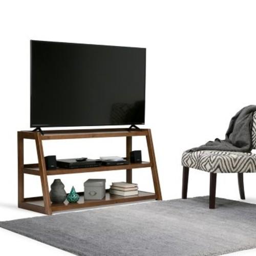 Simpli Home Sawhorse TV Media Stand in Medium Saddle Brown (3AXCSAW-04)