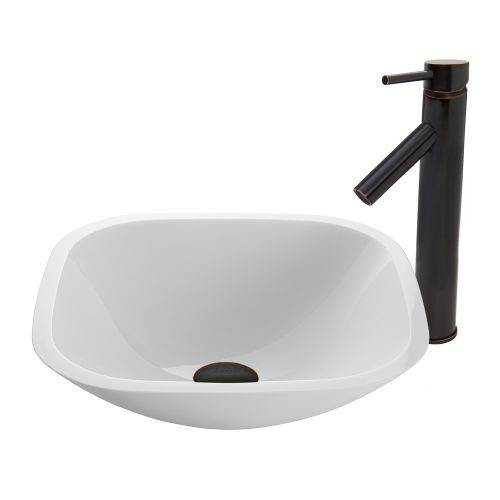 VIGO Glass Vessel Sink in Square Shaped White Phoenix Stone and Dior Faucet Set in Antique Rubbed Bronze