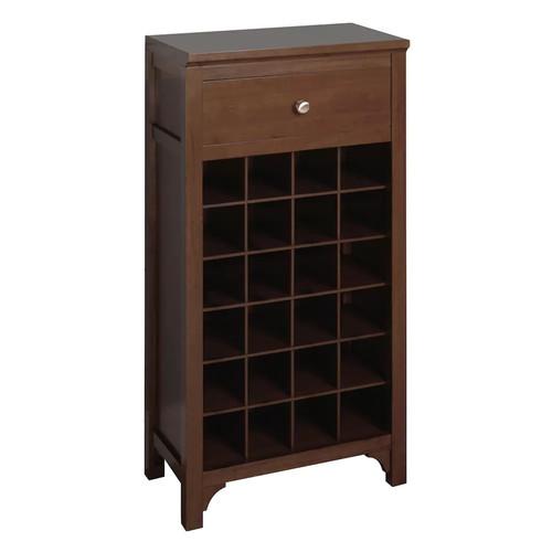 Winsome Wood Walnut 24-Bottle Beechwood Wine Cabinet