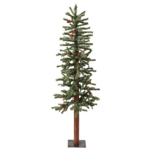 Vickerman 4' Green Alpine Berry Artificial Christmas Tree with 150 Dura-Lit Clear Lights and Frosted