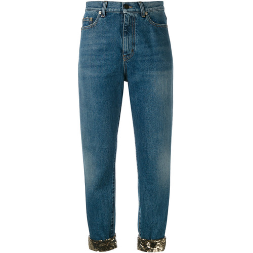 SAINT LAURENT Sequin Turn-Up Jeans