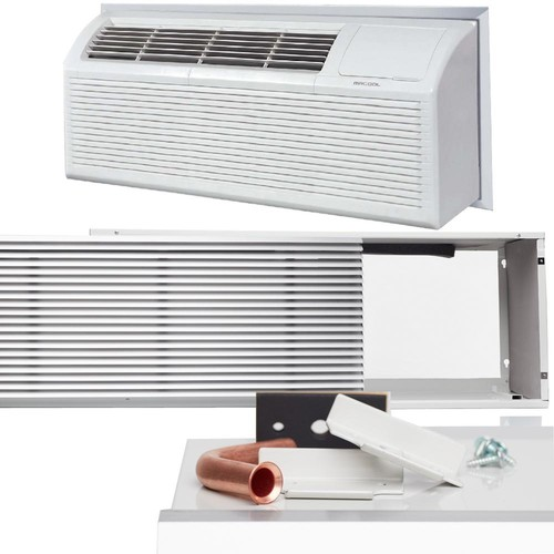 MRCOOL 9,000 BTU Packaged Terminal Heat Pump Air Conditioner (.75 Ton) + 3.5kW Electrical Heater, Insert, Grill (11.3 EER) 230V
