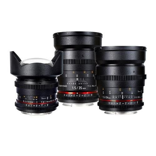 Samyang Nikon F-Mount Three Cine Lens Bundle with 14mm T3.1 Cine Lens, 24mm T1.5 Cine Lens, and 35mm T1.5 Cine Lens - For Video DSLR Cameras