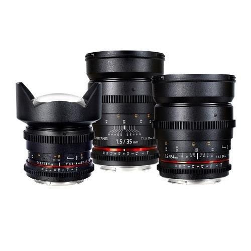 Samyang Nikon F-Mount Three Cine Lens Bundle with 14mm T3.1 Cine Lens, 24mm T1.5 Cine Lens, and 35mm T1.5 Cine Lens - For Video DSLR Cameras