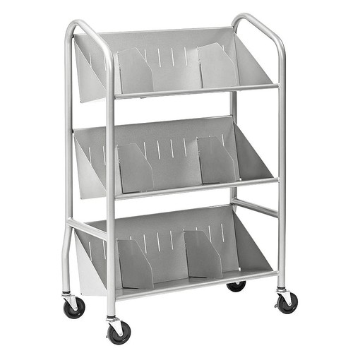 Steel Book Cart with 3 Sloped Shelves, Silver