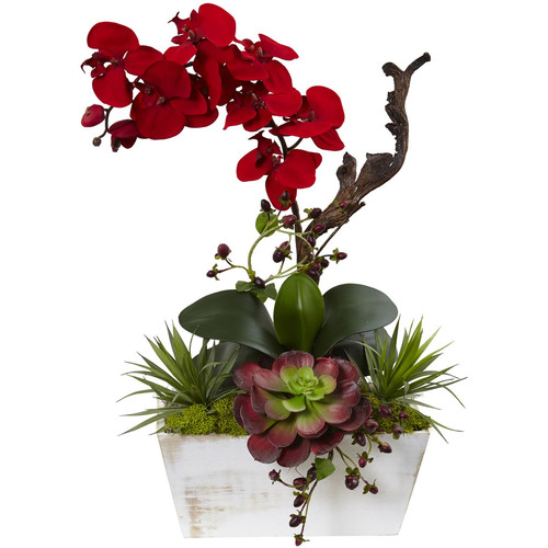 Nearly Natural Seasonal Orchid & Succulent Garden w/White Wash Planter [Height (in.) : 21]
