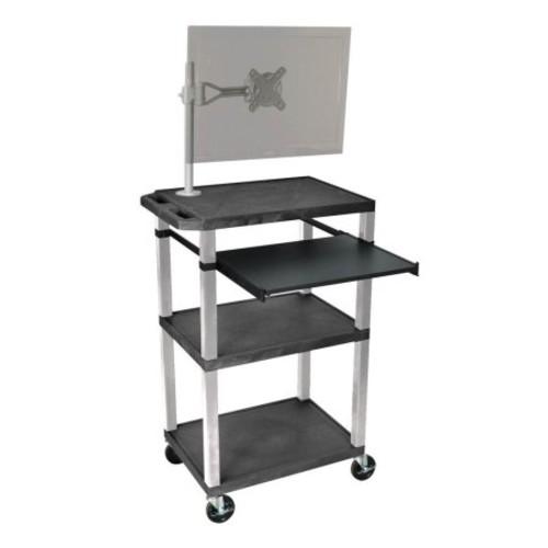 H WILSON WTPS42C2E-B 3-Shelf Cart with Black Pullout Shelf, Cabinet and Legs, Tuffy, 42