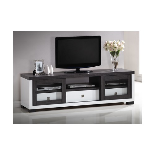 Oxley 70-Inch Modern and Contemporary Two-tone White and Dark Brown Entertainment TV Cabinet with Two Sliding Door and Three Drawers