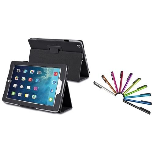 INSTEN Black Leather Case Stand + 10-Piece Colorful Touch Stylus Pens For Apple iPad Air