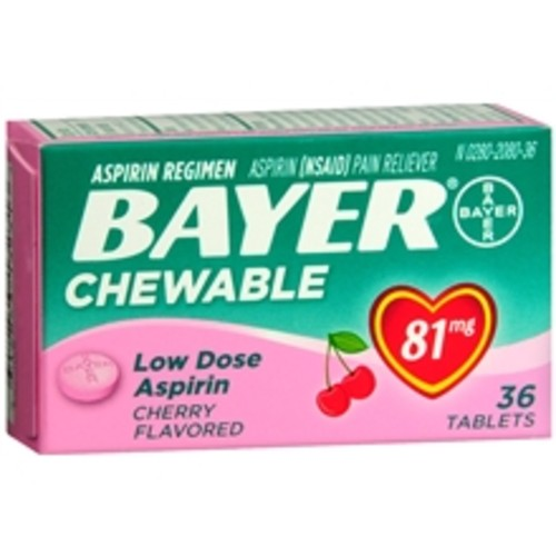 Bayer Low Dose Aspirin Pain Reliever, 81mg, Chewable Tablets Cherry