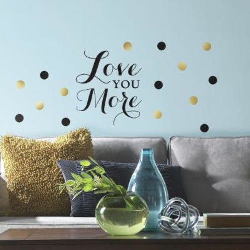 RoomMates 5 in. x 11.5 in. Love You More Quote 64-Piece Peel and Stick Wall Decal
