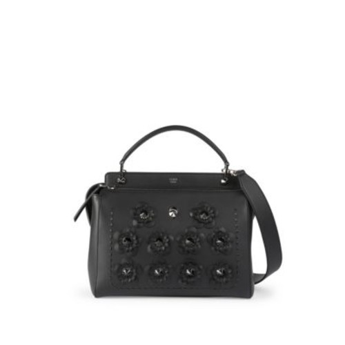 FENDI Floral-Studded Dotcom Leather Satchel