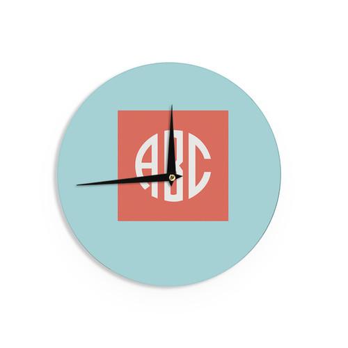 KESS InHouse KESS Original 'Classic Monogram' Teal Typography Wall Clock