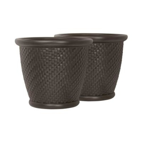 Suncast Herringbone 18 in. Round Java Blow Molded Resin Planter (2-Pack)