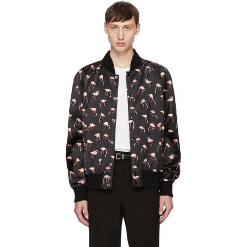 SAINT LAURENT Black Flamingo Teddy Bomber Jacket