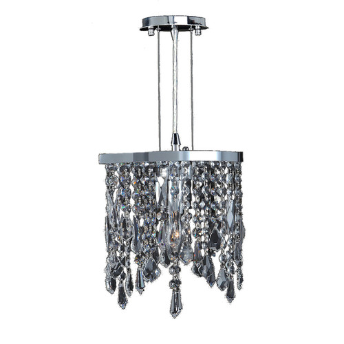 Fiona Collection 1-light Chrome Finish and Clear Crystal Oval Mini Pendant Light