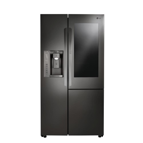 LG Electronics 21.7 cu. ft. Slide-in Side-by-Side Refrigerator in Black Stainless Steel, Counter Depth