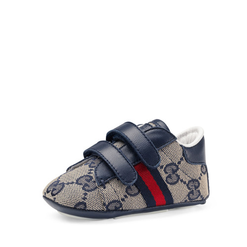 GUCCI Ace Gg Canvas Grip-Strap Sneaker, Infant