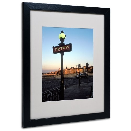 Le Metro at Dusk by Kathy Yates Matted Framed Art with Black Frame, 16 by 20-Inch [16 by 20-Inch]