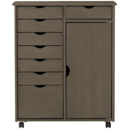Home Decorators Collection Stanton 8-Drawer Double Wide Storage Cart in Antique Grey