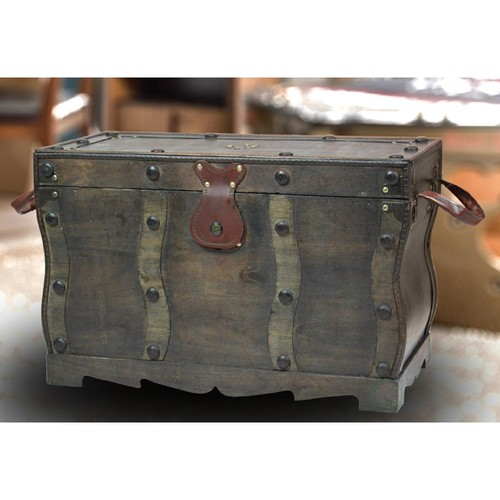 Vintiquewise Antique Style Distressed Black Wooden Pirate Treasure Chest Trunk