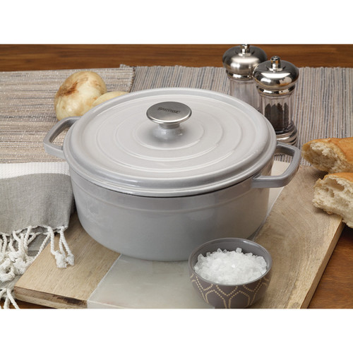Bayou Grey Enameled Cast Iron 5-quart Classic Dutch Oven