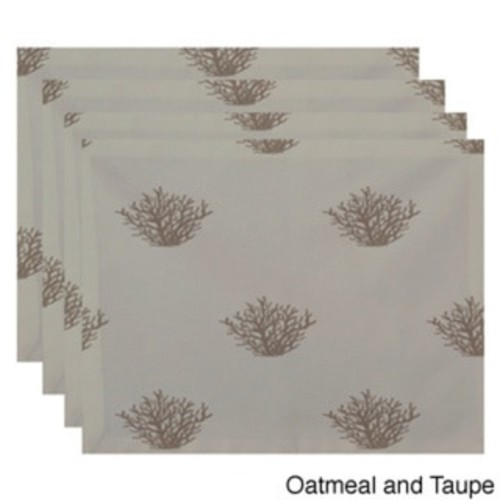 Two-tone Coral Coastal Print Table Top Placemat (Set of 4) [option : Light Blue and Blue]