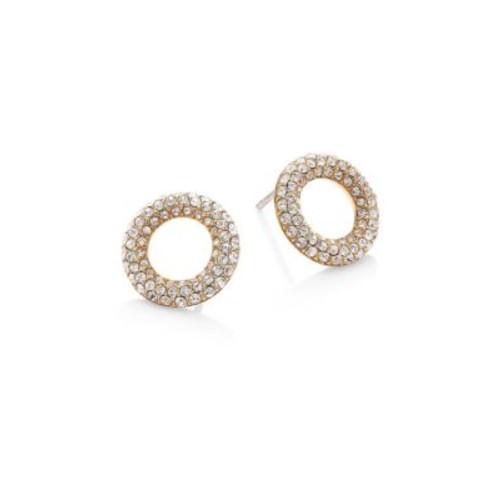 Brilliance Pav Crystal Stud Earrings/Goldtone