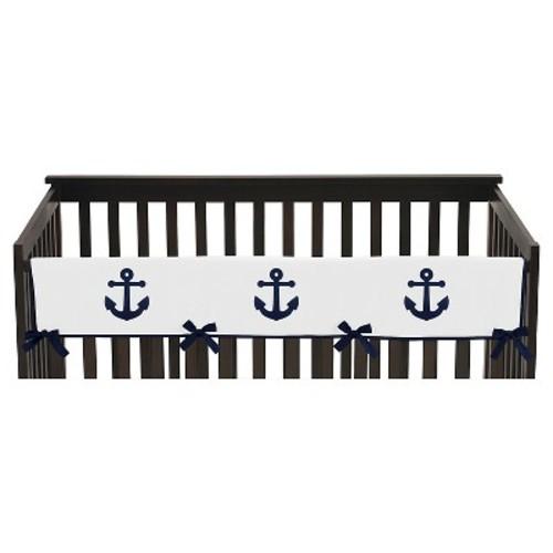 Sweet Jojo Designs Anchors Away Long Crib Rail Guard Cover - Navy