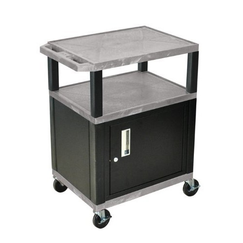 H WILSON WT34GYC2E-B 3-Shelf AV Cart with Cabinet, Tuffy, Gray