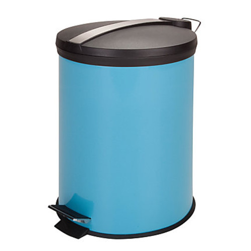 Honey-Can-Do Steel Step Trash Can, 3.2 Gallons, Blue/Stainless Steel