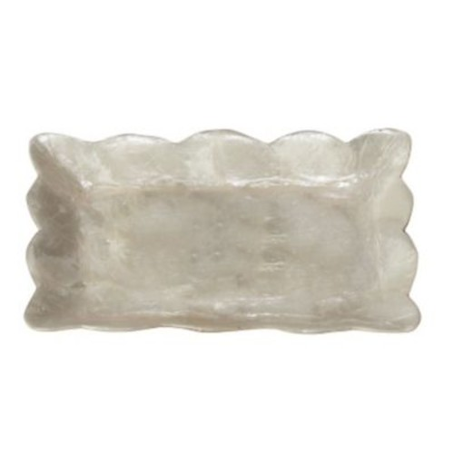 Dekorasyon Capiz Mini Rectangular Tray w/ Scalloped Edge; Natural White