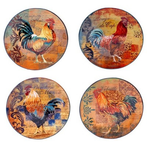 Certified International Rustic Rooster Dinner Plate Set of 4 (11.25\