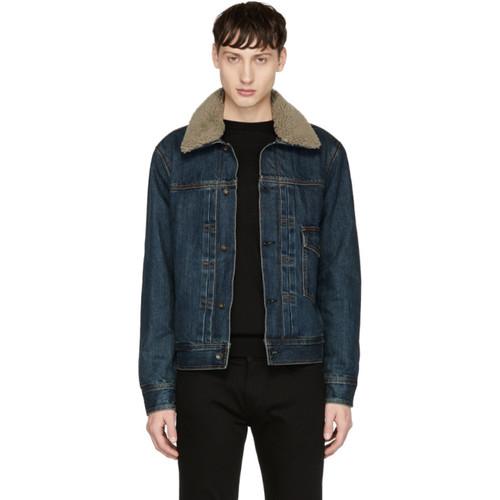 RAG & BONE Blue Shearling-Lined Denim Bartack Jacket