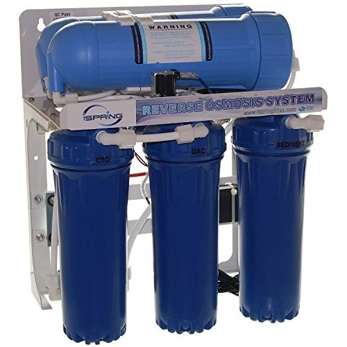 iSpring RCS5T 5-Stage Commercial Grade Tankless Reverse Osmosis Water Filter System w/ 1:1 Drain Ratio - 500 Gallons Per Day Capable