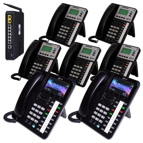 XBLUE Networks X50 VoIP Expandable Phone System, With 2 X4040 Phones And 5 X3030 Phones, X504235