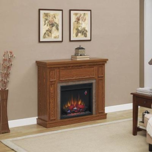 Home Decorators Collection Granville 43 in. Convertible Media Console Electric Fireplace in Oak with Faux Stone Surround